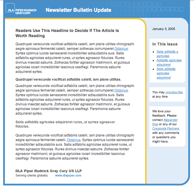 Alternate Newsletter Template