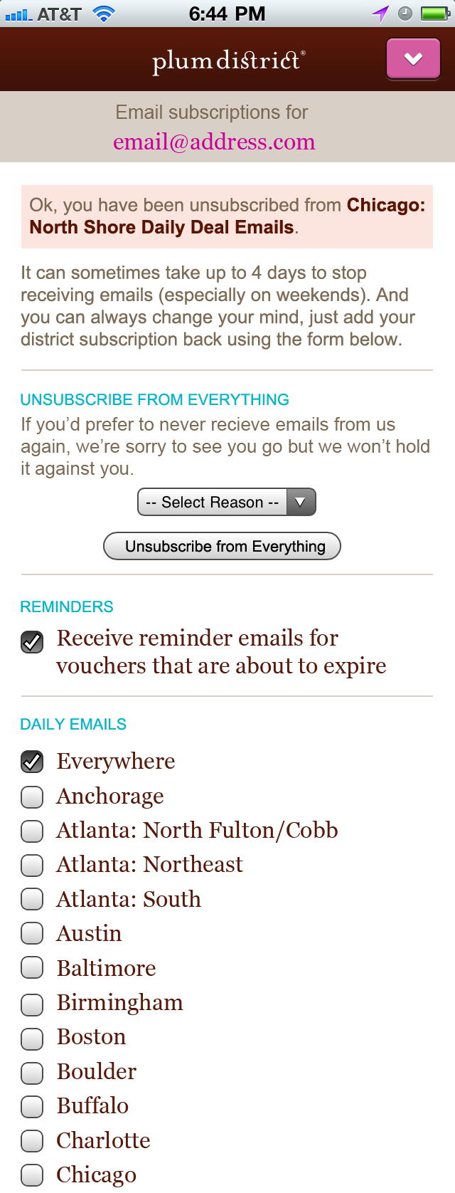 Mobile Unsubscribe Confirmation