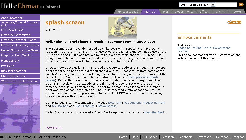 Intranet Homepage - Original