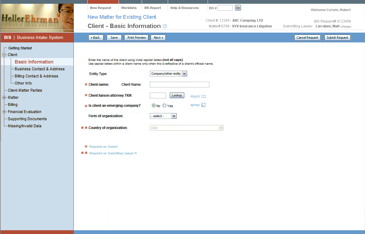 Example Web Application Interface