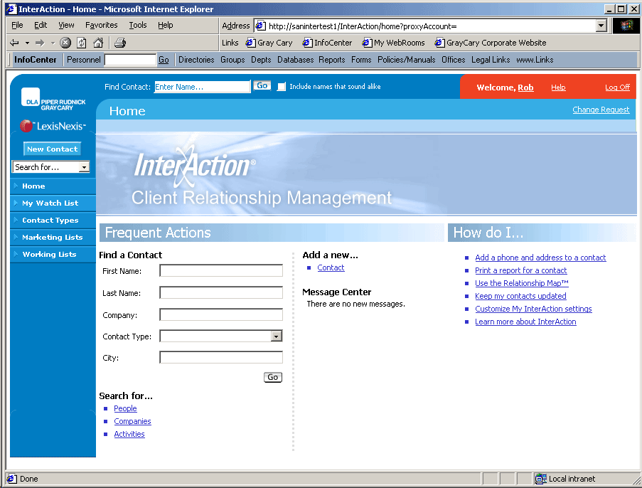 Redesigned CRM Application Interface